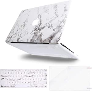 MOSISO MacBook Pro 13 inch Case A1278 Release 2012-2008, Plastic Pattern Hard Case & Keyboard Cover & Screen Protector Compatible with Old Version MacBook Pro 13 inch with CD-ROM, White Marble