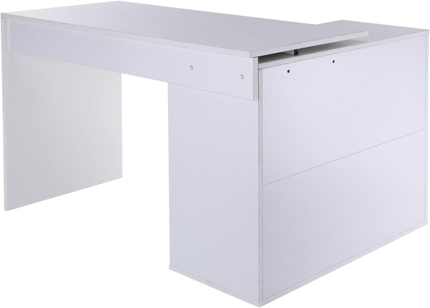 HOMCOM Eckschreibtisch Computertisch B/ürotisch Winkelschreibtisch Regal L-Form 117 x 83,5 x 76 cm MDF+Metall I-Form 162 x 50 x 76 cm Schwarz