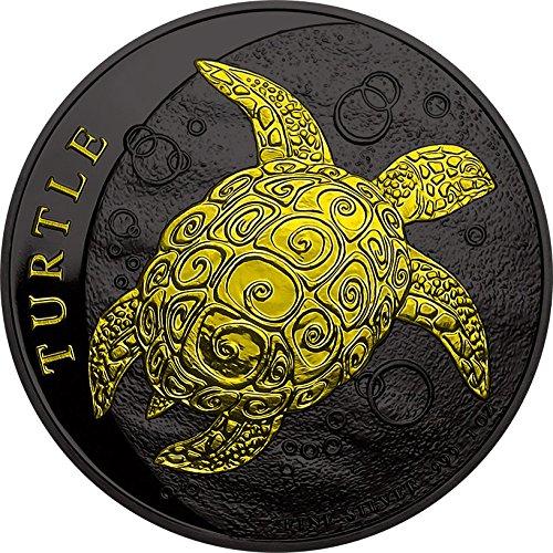 2016 NU Modern Commemorative PowerCoin TURTLE Hawksbill Black Ruthenium 1 Oz Silver Coin 2$ Niue 2016 BU Brilliant Uncirculated