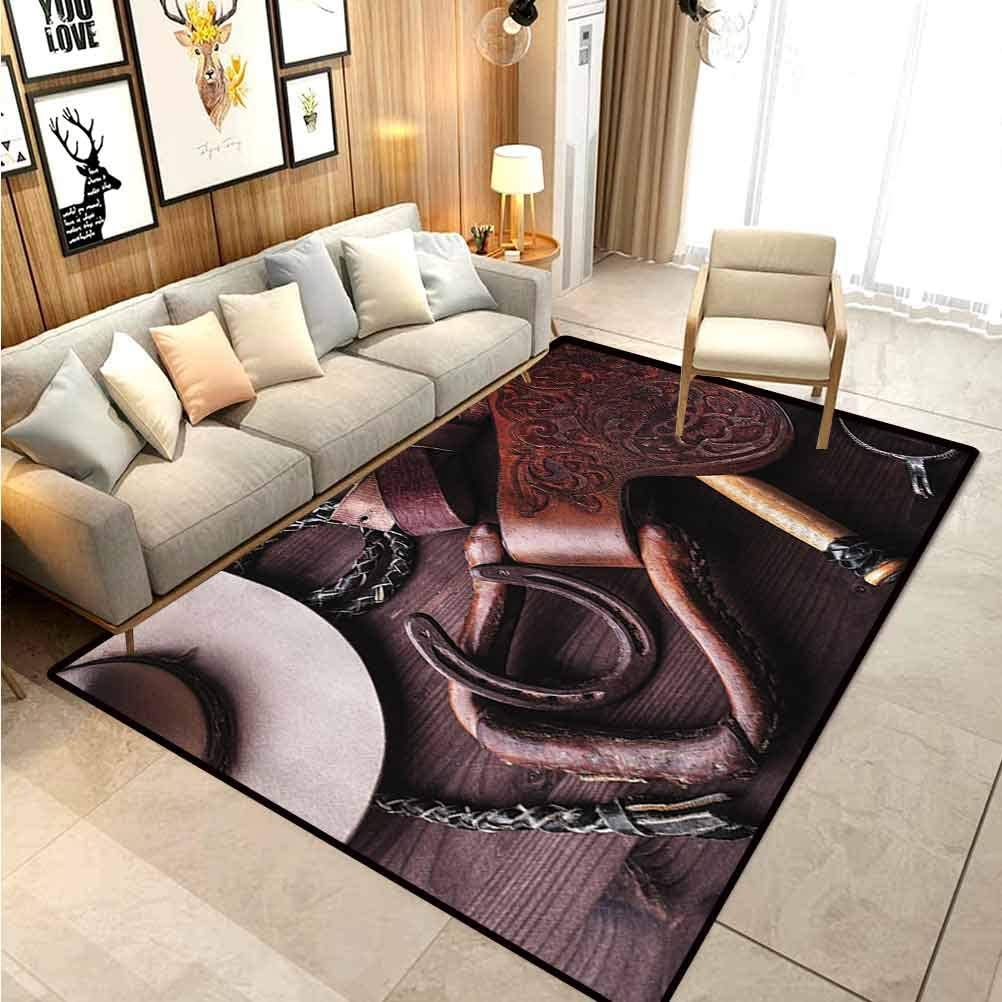 Western Decor Modern Soft Rug Pad Clothes and Accessories for Horse Riding with Kitsch Details Rural Sports Themed Office Chair mat for Carpet Brown 6 x 8.8 Ft