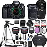 Canon EOS 6D Mark II DSLR Camera w/ 4 Lens Bundle Including EF 24-105mm f/3.5-5.6 is STM + 2.2X Telephoto & 0.43x Aux Wide Angle Lens + 2Pcs 32GB SD + Accessories Premium Commander Kit (29 Items)