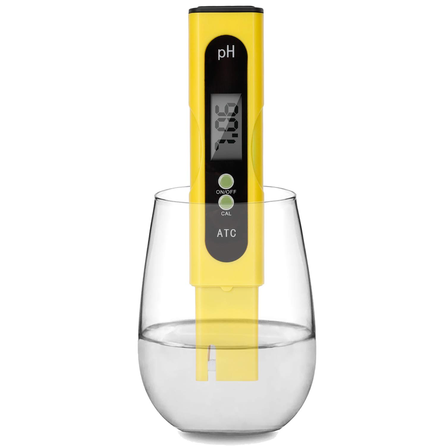 Digital PH Meter - 0.01 PH High Accuracy Water Quality Tester PH 0.0-14.0 PH Monitor ATC Pocket Pen Analyzer Pool Water Aquarium Pocket Portable (Yellow) by BBGPPG