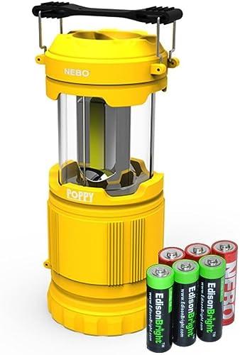 Nebo Poppy 6555 Combination LED 300 Lumen Lantern 120 Lumen Spot Light w 3 X EdisonBright AA batteries Yellow