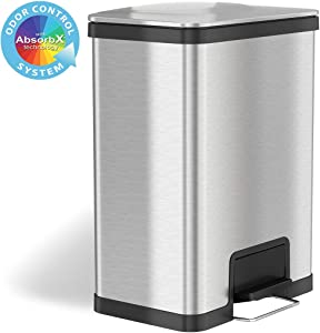 iTouchless Airstep 13 Gallon Step Pedal Trash Can with Odor Control System, Commercial Grade Stainless Steel Kitchen Garbage Bin for Home and Office, Silent Lid Open and Close