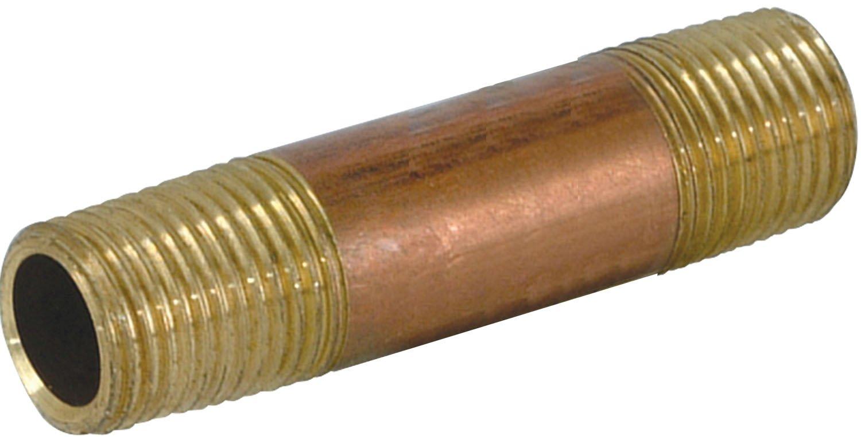 EZ-Flo 78691 Red Brass Nipple - 1/2'' Mip 1/2'' x 1-1/8'' Length