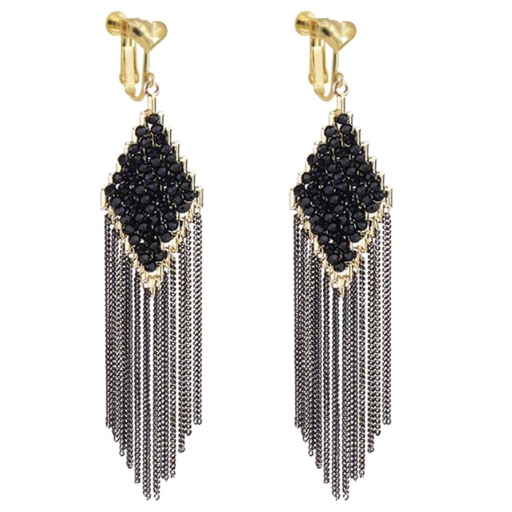 Black Crystal Long Chain Tassel Square Dangle Clip On Earring Screw Back Earrings for Girls Women