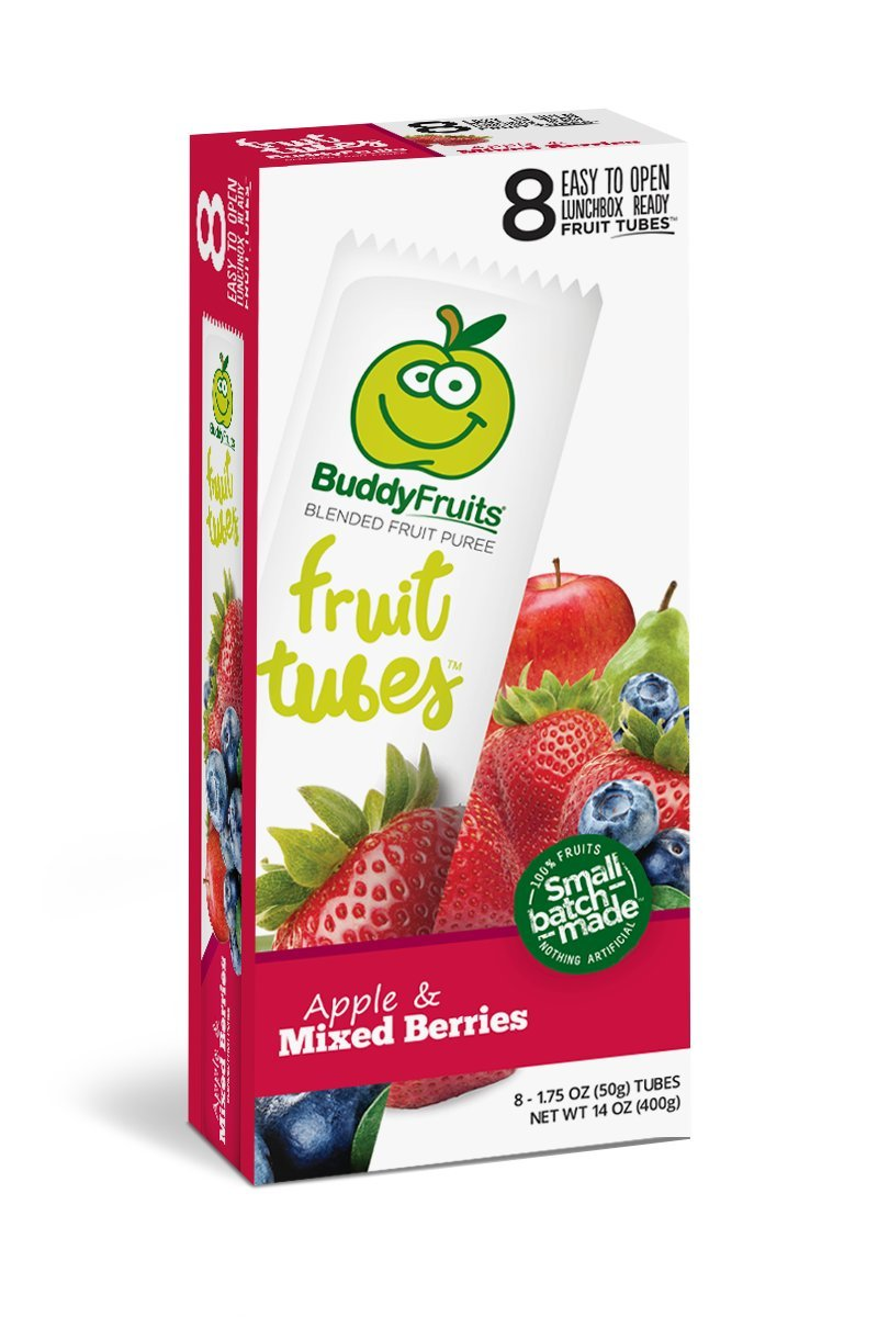 Buddy Fruits Tubes, Apple & Mixed Berries, 1.75 Ounce (Pack of 8)