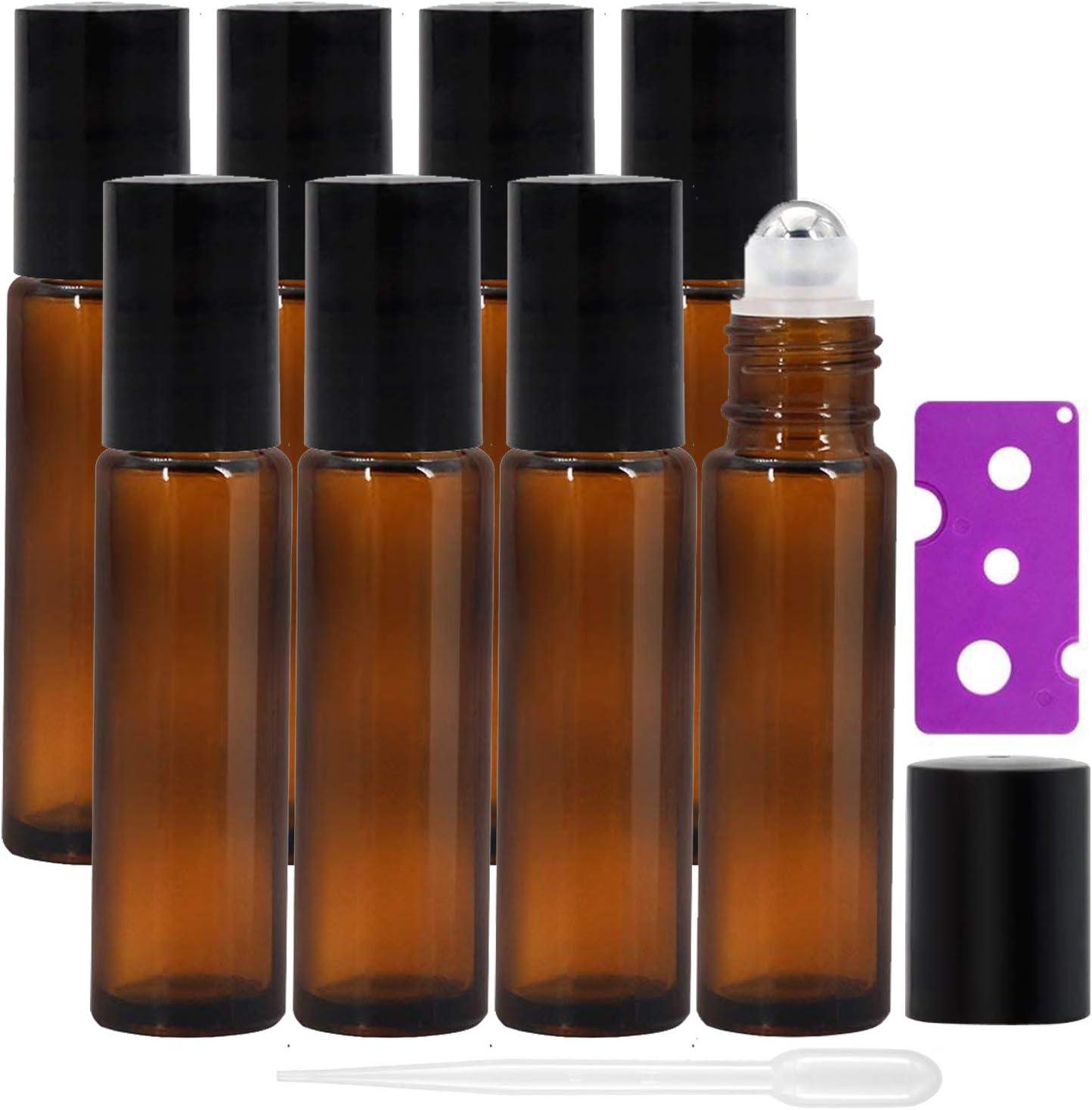 Alledominio, 8 botellas de 10 ml de aceites esenciales, botellas de vidrio ámbar recargables con bolas de acero inoxidable, incluye 12 etiquetas, 1 cuentagotas y abridor, perfecto para aromaterapia