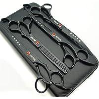 Professional Pet Grooming Scissors Set Straight Scissors Thinning Scissors Curved Scissors 4pcs Set (Black)