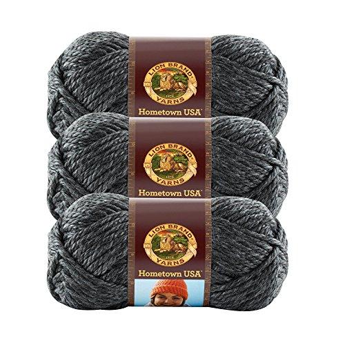 (3 Pack) Lion Brand Yarn 135-150 Hometown USA Yarn, Chicago Charcoal