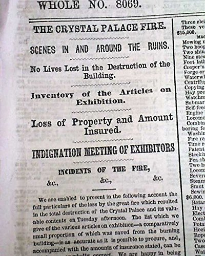NEW YORK CRYSTAL PALACE Bryant Park Manhattan FIRE Disaster 1858 NYC Newspaper THE NEW YORK HERALD, October 7, - Park Bryant 7