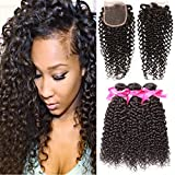DSOAR 3 Bundles Brazilian Curly Hair With Closure 8a Virgin Hair Kinky Curly Weave Brazilian Wavy Curly Hair (18 20 22+16) For Sale