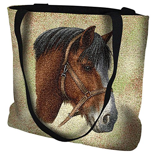 Clydesdale Horse Hand Finished Large Woven Tote or Shoulder Bag with Magnetic Clasp 100% Cotton Double Sided Made in USA by Artisan Textile Mill Pure Country Weavers