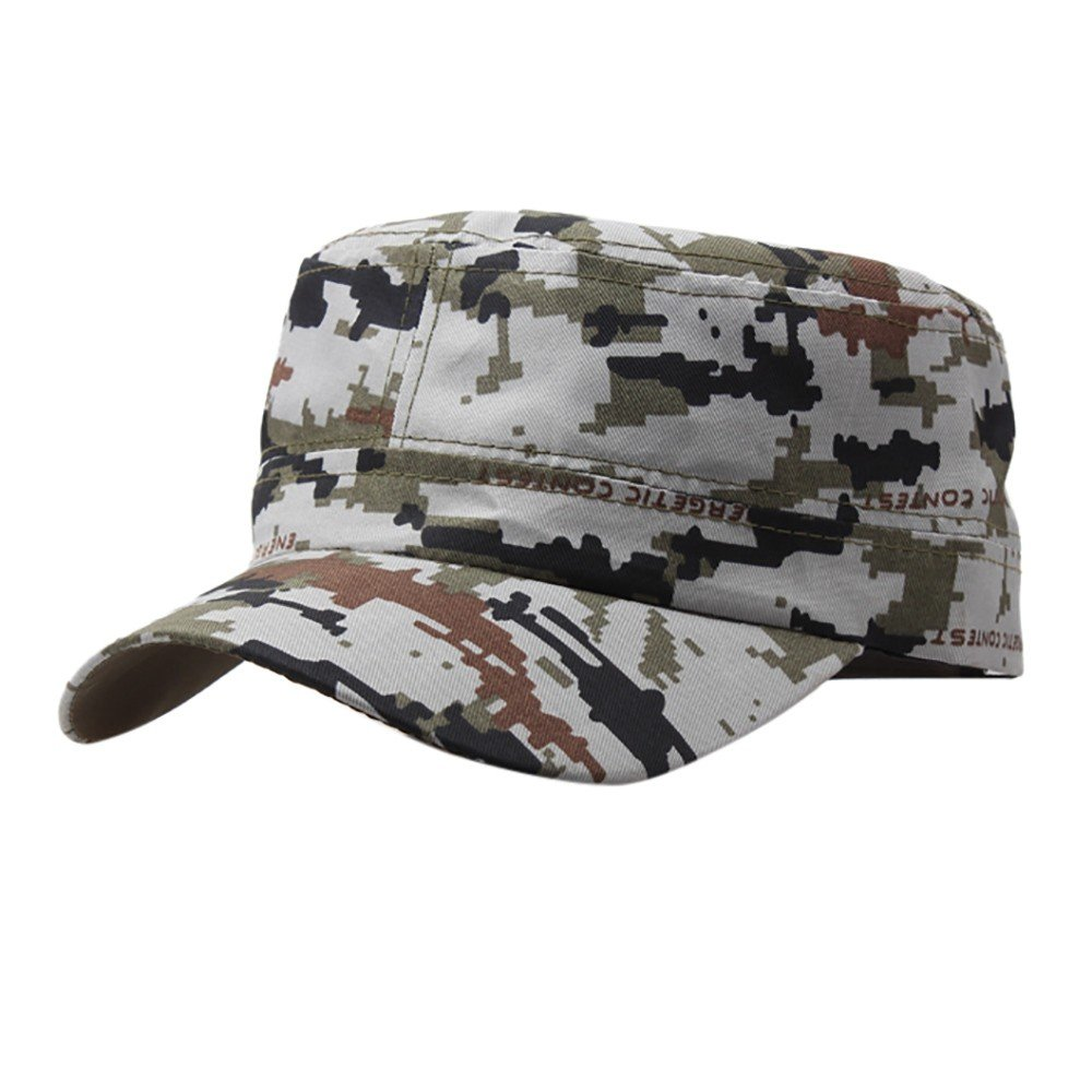 Mens Camouflage Military Cotton Hat Summer Army Peaked Dad Cap Adjustable Distressed Washed Cadet Patrol Bush Hat (Gray)