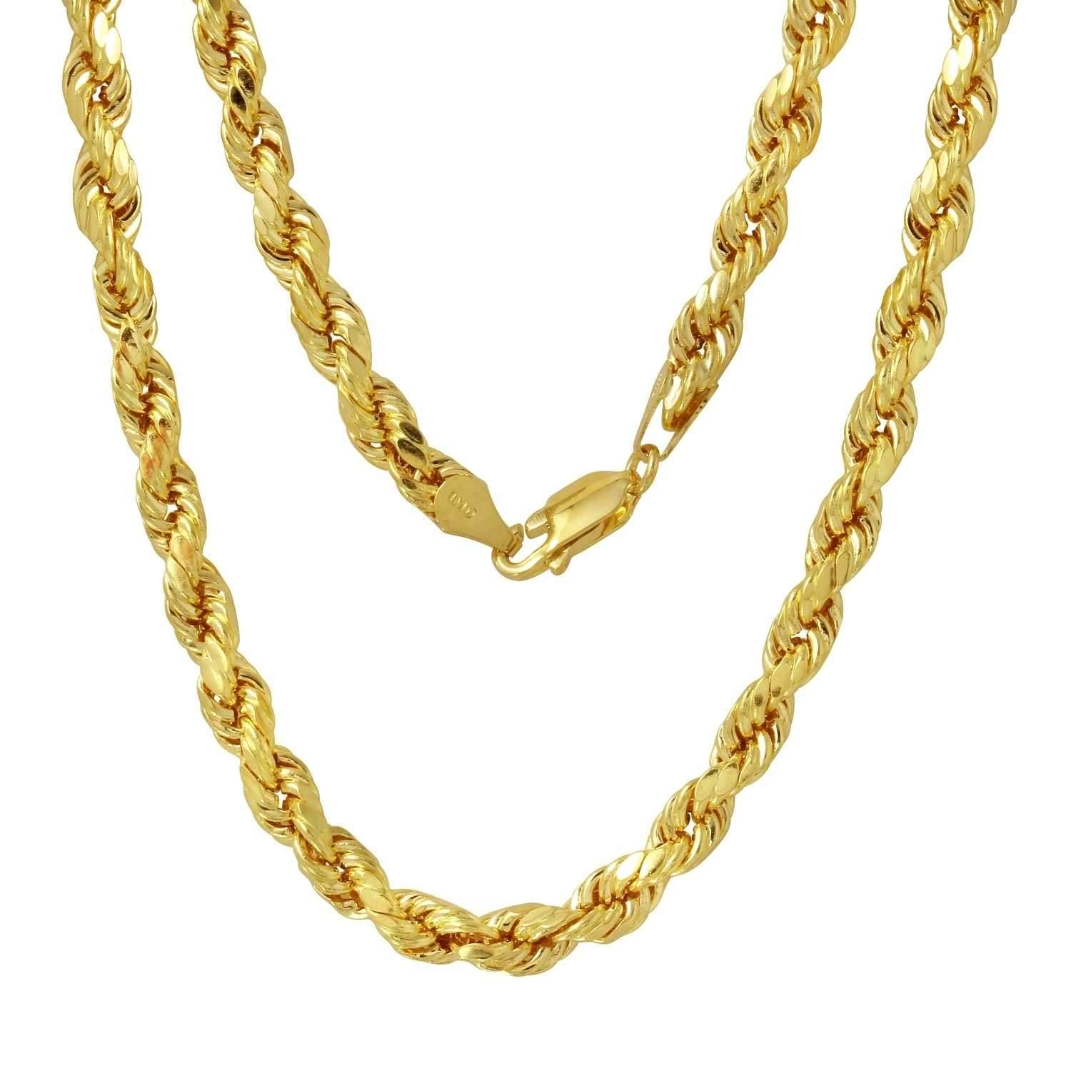 14K Gold 5MM Thick Diamond Cut Rope Chain Necklace Unisex Sizes 18''-30'' (22.0)