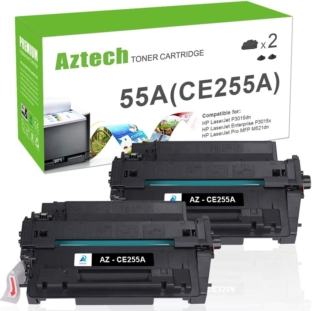 Aztech Compatible Toner Cartridge Replacement for HP CE255A 55A 55X CE255X Laserjet Enterprise P3015dn P3015x Laserjet Pro 500 MFP M521dn M521dw (Black, 2-Packs)