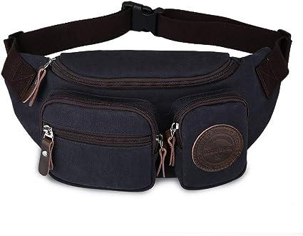 Men/'s Genuine Leather Fanny Pack Shoulder Bag Sports Running Waist Belt Bag