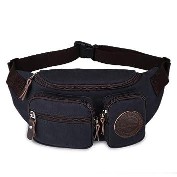 1a283dd8355f Muzee Mens Canvas Waist Pack Running Sling Backpack Crossbody Bag Fanny  Packs