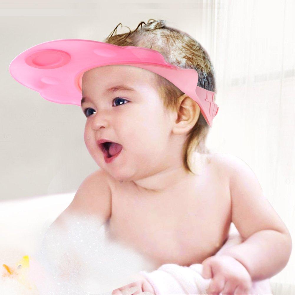 Baby Mate 2pcs Leak Proof Baby Bath Visor (Pink & Blue, Adjustable Straps) - Baby Hair Washing Shield - BBV Eye Protector Water Visor for Kids - Bathroom Safety Bath Cap - Shampoo Hat for Toddlers