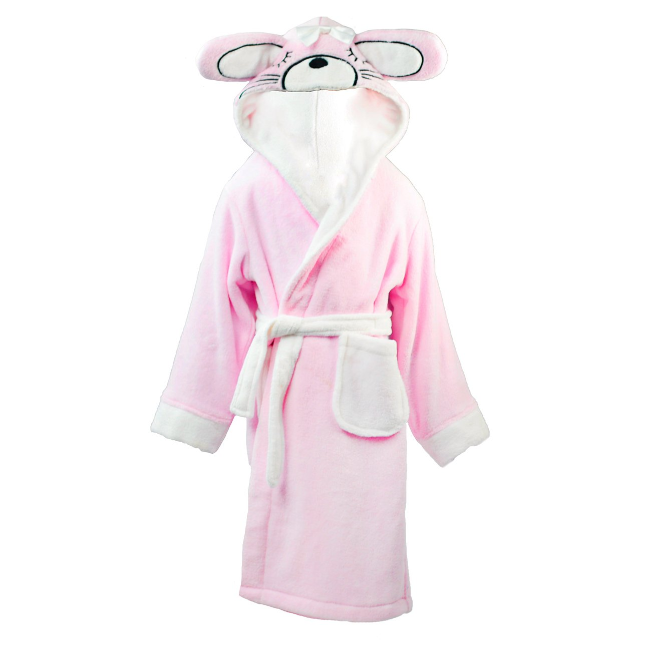 Minikidz Girls Bunny Dressing Gown Robe Animal Ears Hooded Fleece Soft Warm Cute Mini Kidz