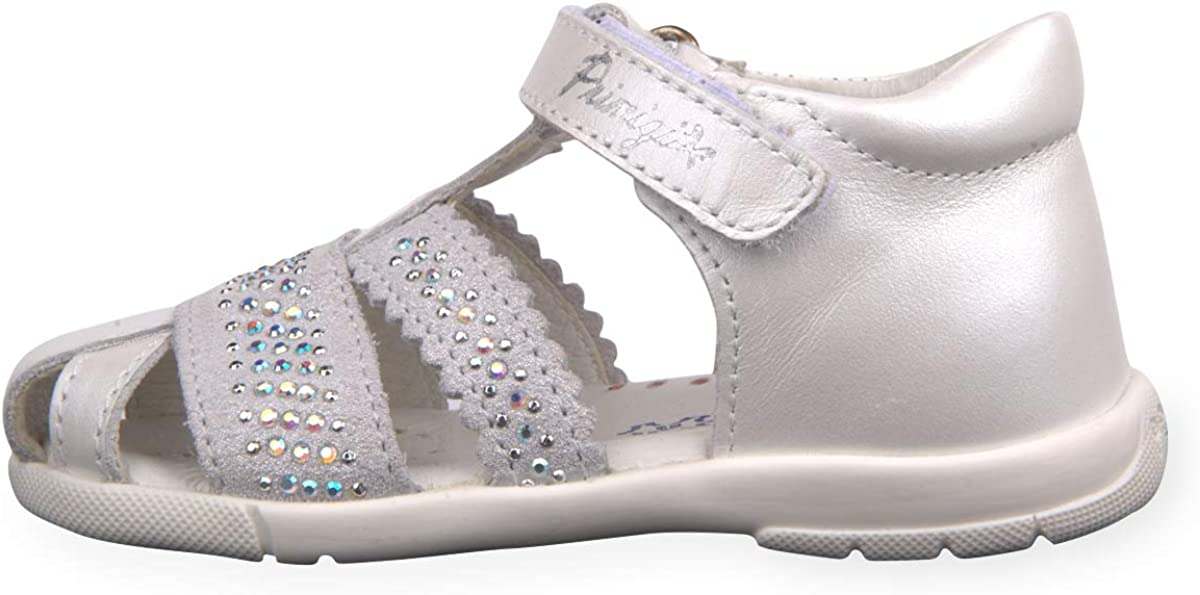 Shipped from US Warehouse Summer and Spring US Customer Support Imported from Italy Primigi Sandals for Girls Silver and Platinum with Crystals- PPB 34023