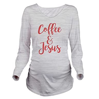 02407e682 CafePress Coffee and Jesus Long Sleeve Maternity T-Shirt, Cute and Funny  Pregnancy Tee