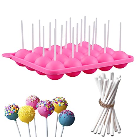 Dee Plus Silicona Bandeja Pop Cake Stick mould DIY Lollipop Silicone Mould Rosa, Silicone Baking