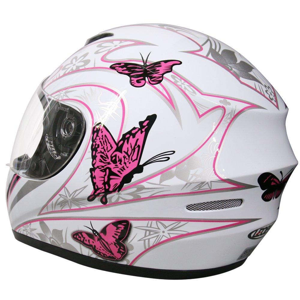 White XL Leopard LEO-819 ECE 2205 Approved Full Face Motorbike Helmet Motorcycle Helmet 61-62cm