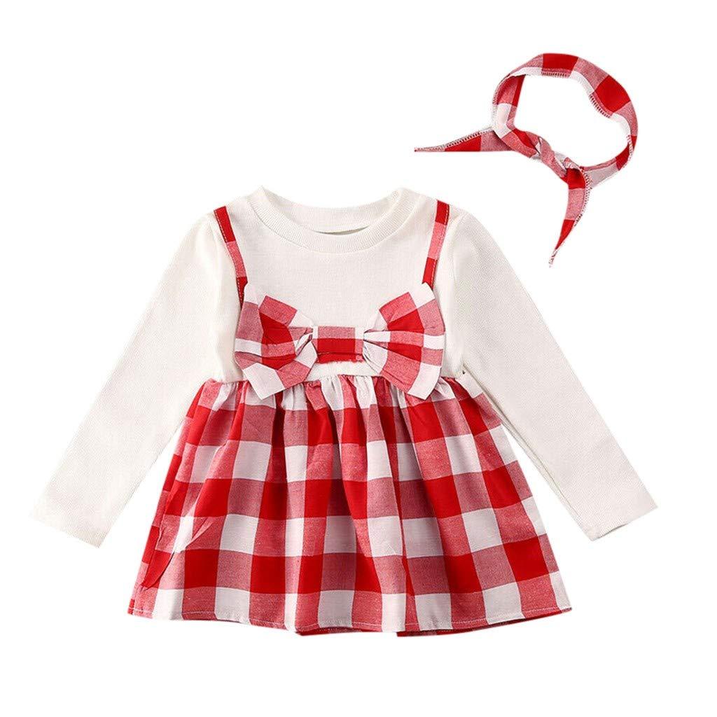Cute Toddler Infant Newborn Baby Girl 3Pcs Skirt Headband+Romper Clothes Autumn Outfits Long Sleeve ValentineS Day Cartoon Dinosaur Print T-Shirt Heart Print Strap Skirt MORETIME Baby Girls Dress