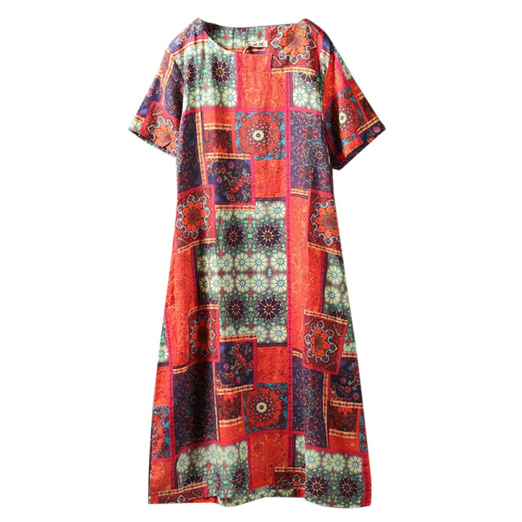 Women Linen Short Sleeve Mini Dress, Vintage Printed O-Neck Loose Boho A-Line Party Dresses (Red, XL)