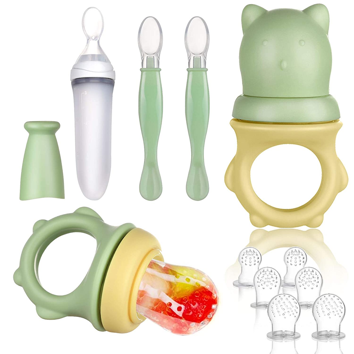 Lictin Baby Food Feeder Pacifier Set Feeding Supplies 11 PCS - Squeeze Spoon with Fresh Silicone Bottle, Infant Hot Safety Spoon, Baby Feeding Utensil Gift Box
