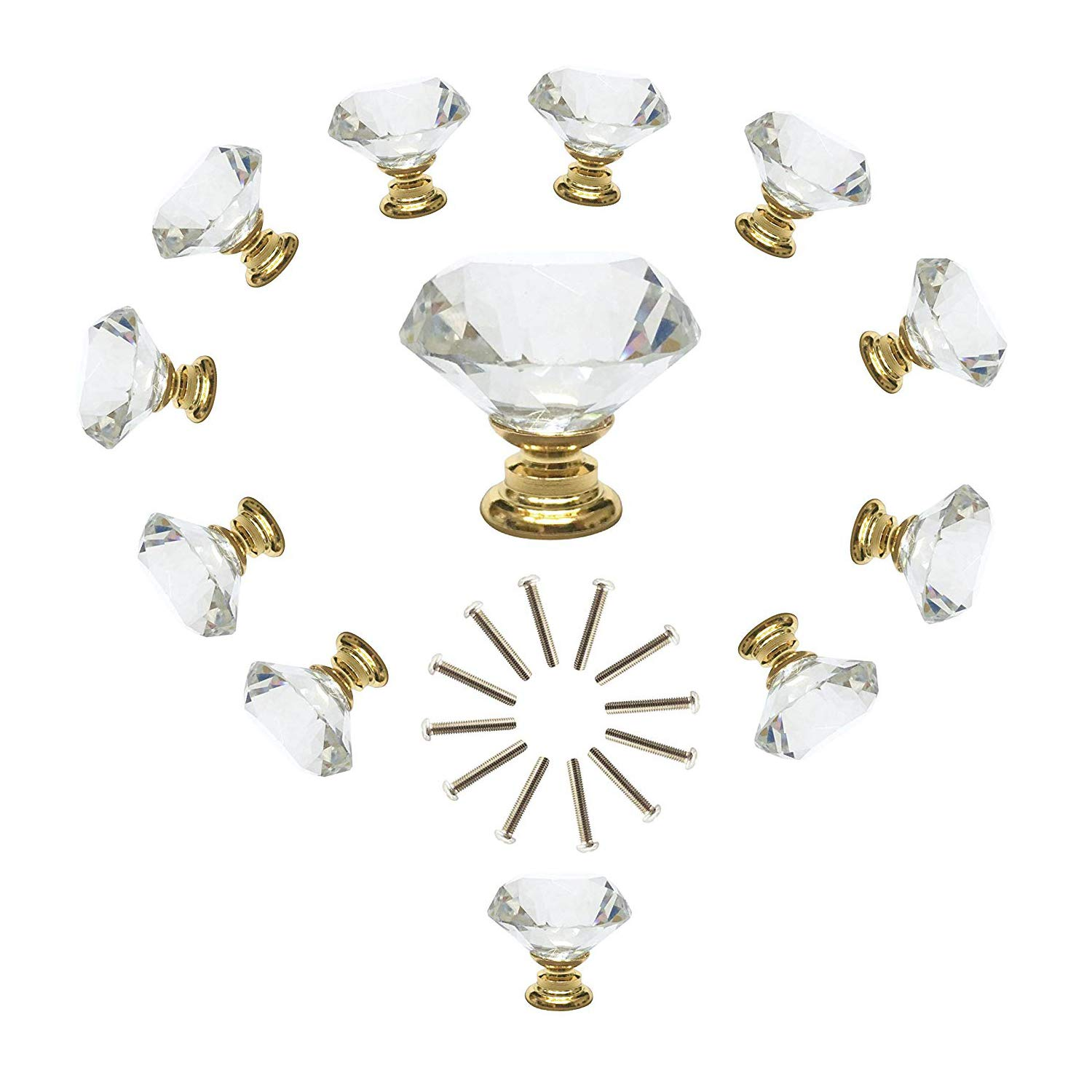 ANJUU 12 Pcs 30mm Diamond Shape Crystal Glass Cabinet Knobs with Gold Base with Screws Drawer Knob Pull Handle Used for Kitchen, Dresser, Door, Cupboard (Clear)