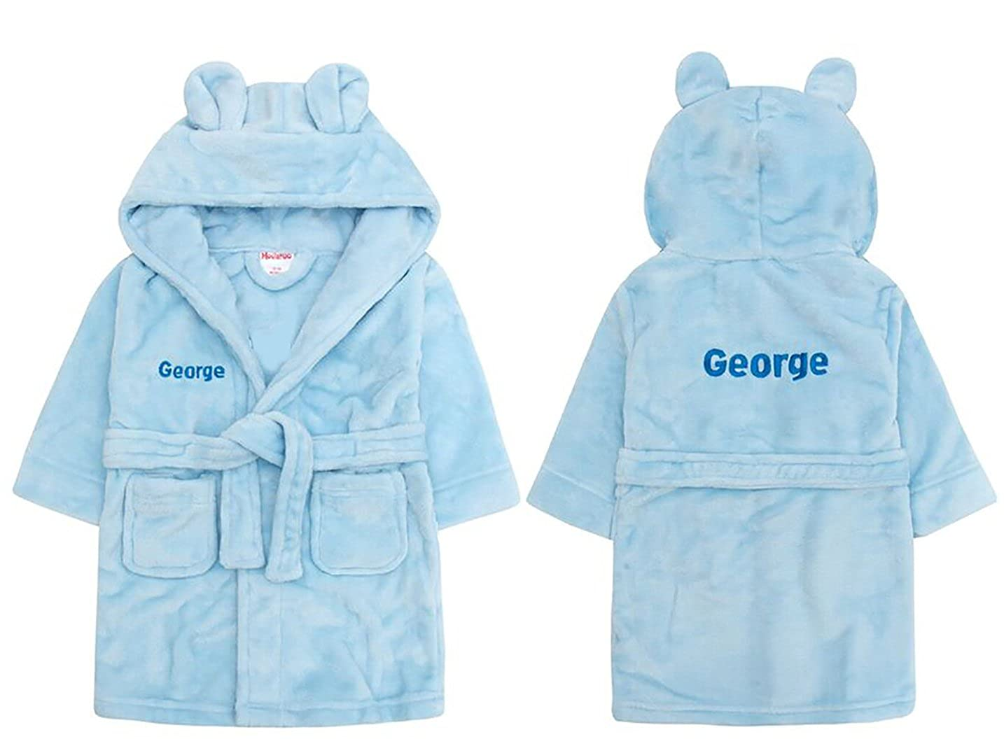 Embroidered Personalised Soft Baby Blue Dressing Gown Bath Robe with Teddy EARS 6 Months-5 Years