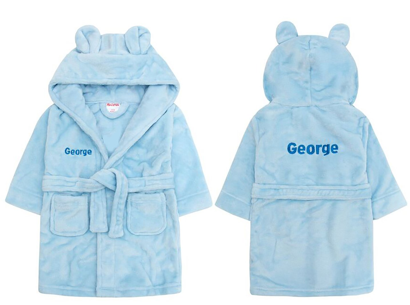 c3287c3437 Embroidered Personalised Soft Baby Blue Dressing Gown Bath Robe with Teddy  EARS 6 Months-5 Years