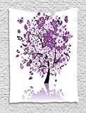 XHFITCLtd Nature Tapestry, Spring Tree of Life Sacred Woods with Blooming Flower and Butterfly Flying Romance, Wall Hanging for Bedroom Living Room Dorm, 60 W X 80 L Inches, Lilac Purple