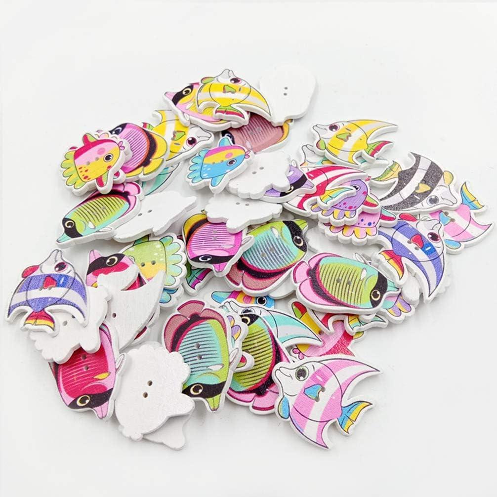 Healifty 50 Piezas DIY 3 Estilos patr/ón de Pescado Infantil de Dibujos Animados de Madera peque/ños Botones de Sujetadores Frescos para Manualidades Ropa de /álbum de Recortes