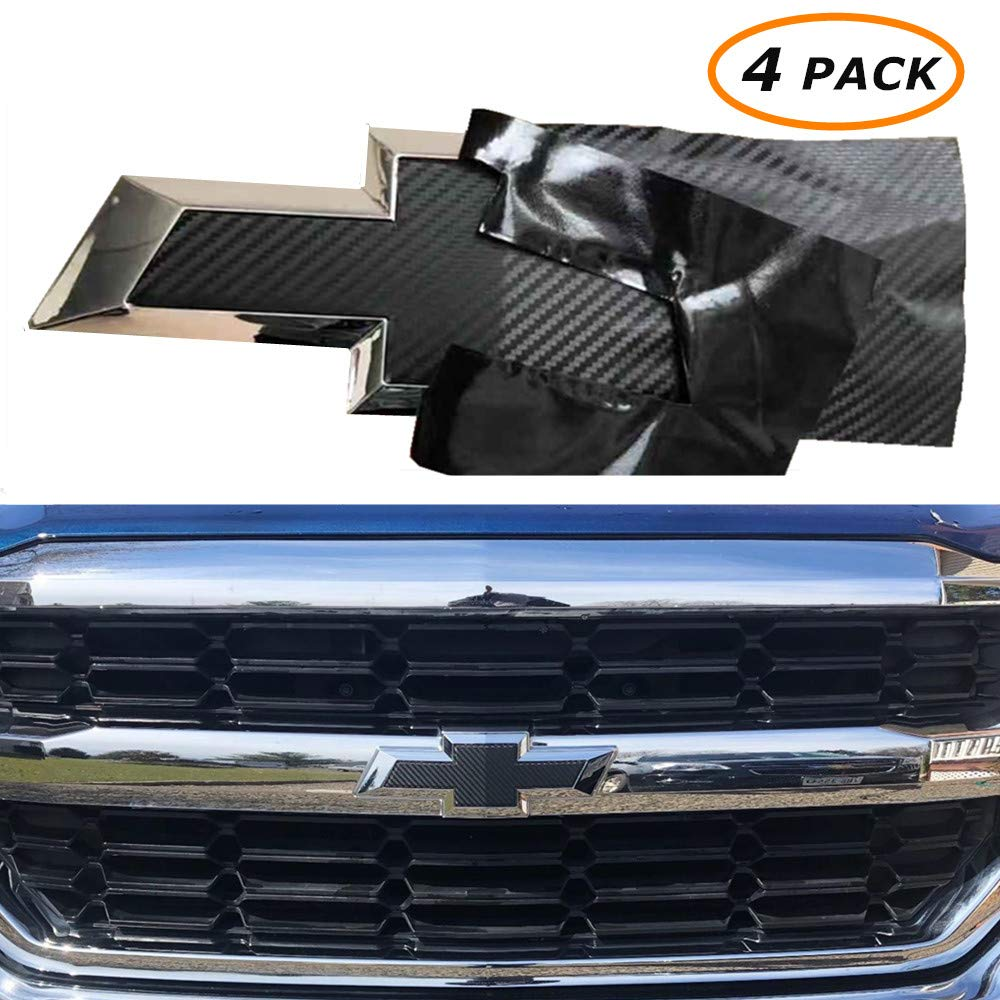KENPENRI Chevy Bowtie Emblem Vinyl Overlay 4 Pack Black Carbon Fiber 3M Cut-Your-Own Car Wrap Kit with Air Release -11.8 x 4