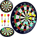 Gadgetzone Magnetic Beginner's Dart Board Dartboard, Complete Set With 6 Darts Fun Christmas Party Game Toy Play set Adults Or Kids Children's Target Game. Ideal Christmas Gift. (White)