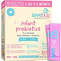 LoveBug Probiotics for Infants 0-6 Months Old Immune Support, 1 Billion CFU & 3 Strains, 30 Easy to Mix Dissolvable Packets, Probiotic Supplement for Digestive & Immune Health, Vegan & Non-GMO
