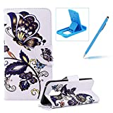 Wallet Leather Case for LG G7,Flip Case for LG G7,Herzzer Stylish Premium Pretty Butterfly Printed Magnetic Stand PU Leather with Inner Soft Rubber Case