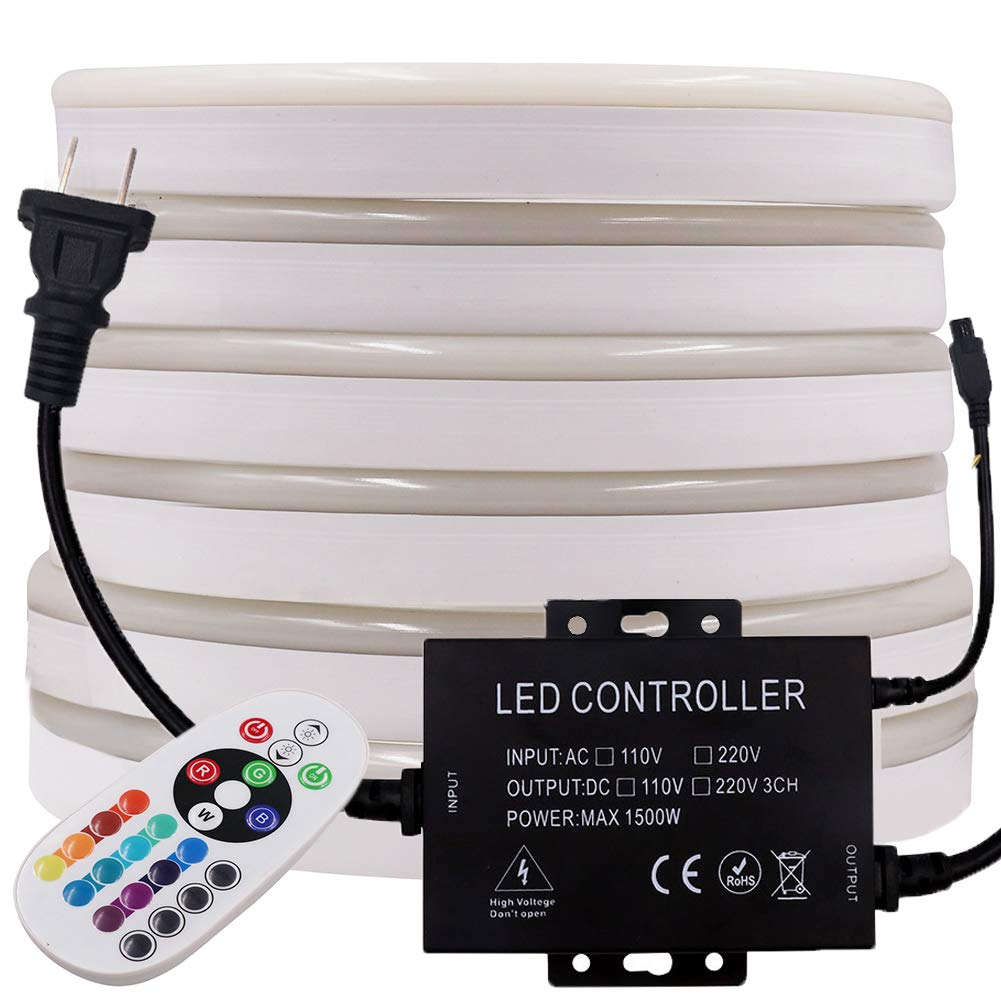 XUNATA 164ft LED Neon Rope Strip Lights with Remote Control, 6000 Units SMD2835 Waterproof Flexible Color-Changing RGB LED Night Light Strip for Home Indoor Outdoor Decoration