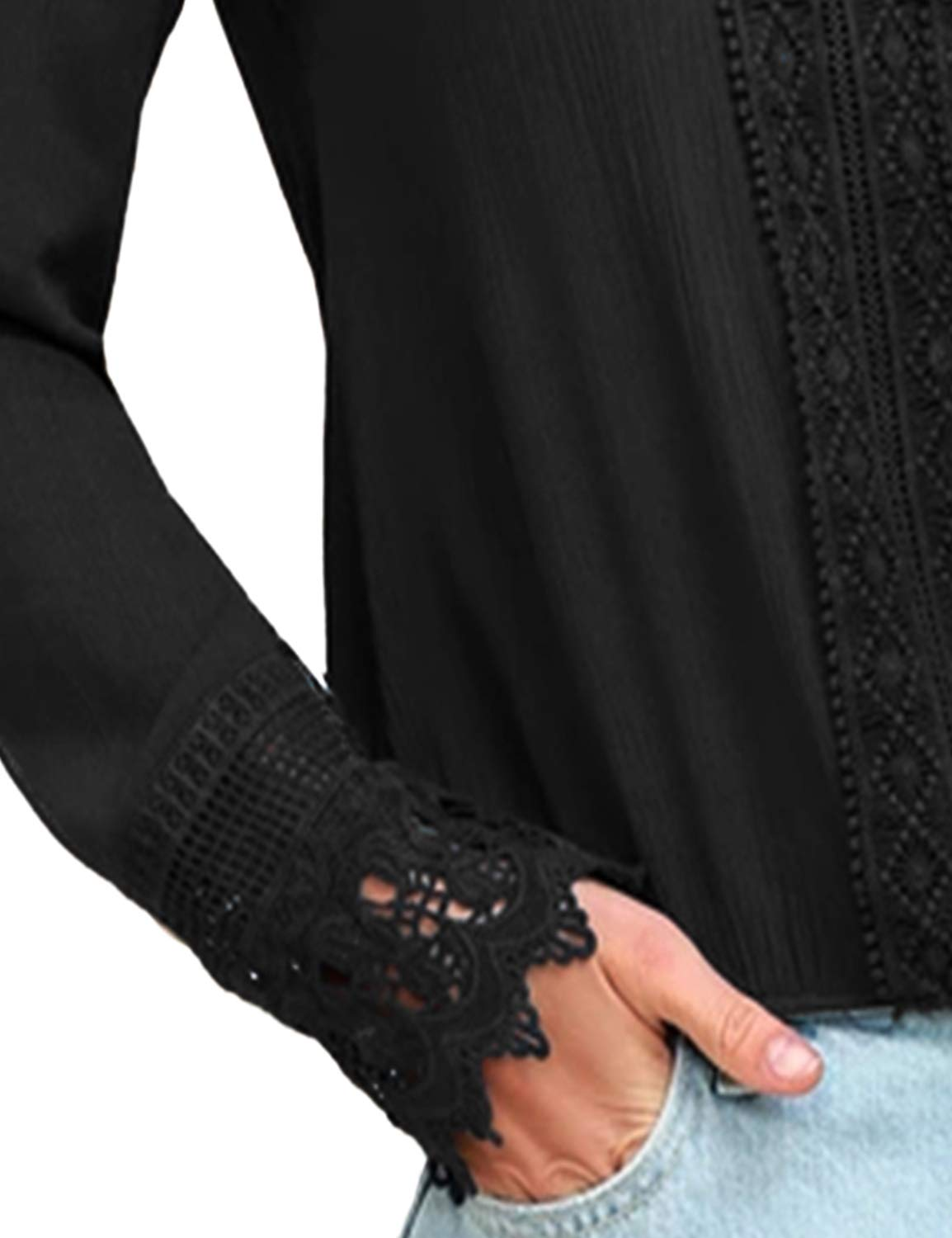 BMJL Women\'s Lace Splicing Top Deep V Neck Blouse Casual Long Sleeve Shirt Tees(M,Black)