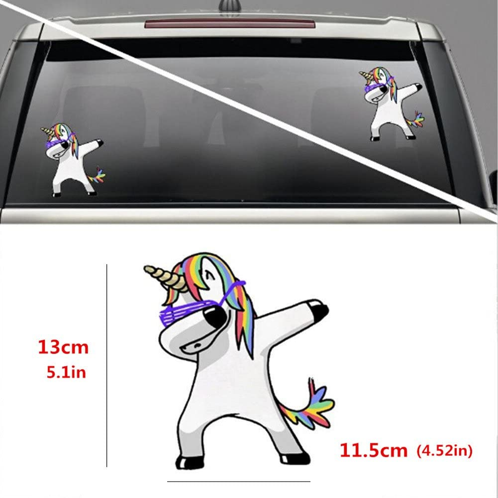 Tianji Car Stickers and Decals 4 Pcs Set Funny Humor Cute Unicorn with Crown Tattoo Making My Family FK It Evolutionism for Outdoor Use on Cars ATV Boats Windows