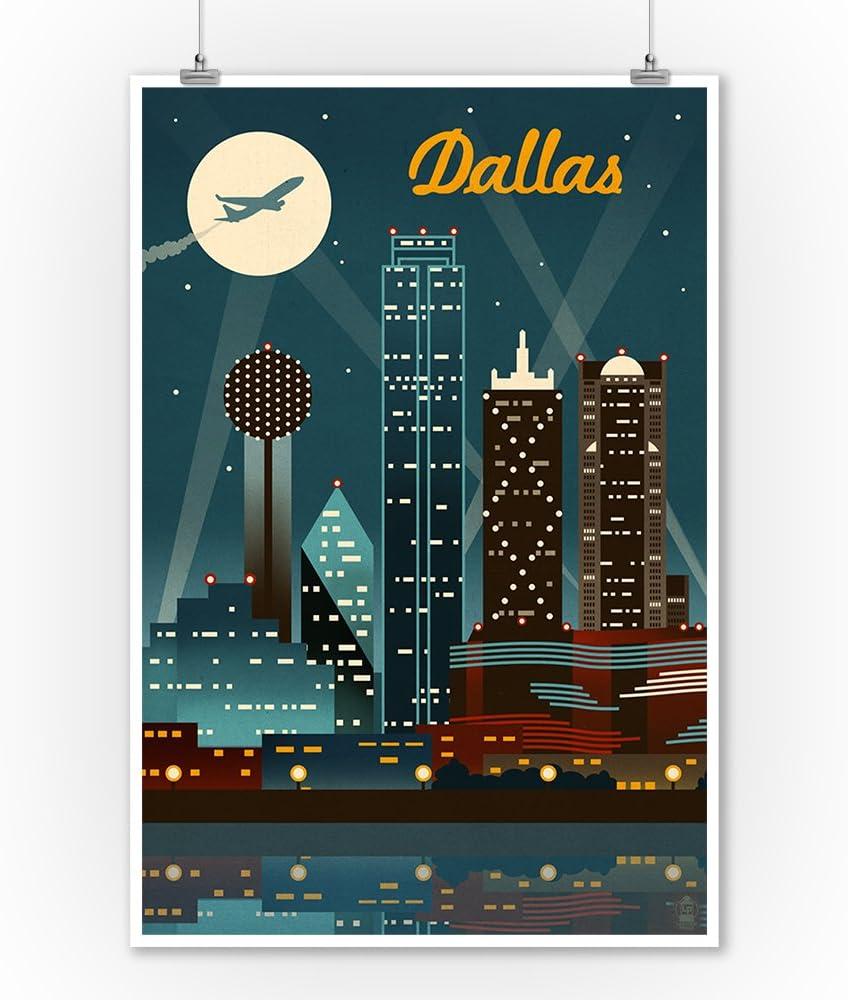 Walking Tall Panoramic Art Deep Ellum Texas Colorful Cityscape Art Dallas Texas Skyline Traveling Man Panorama Wall Decor Rail Line