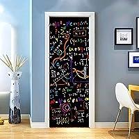 SONYUN Deurstickers Zelfklevende 3D Deurstickers Kamer Poster Art Decor Behang 77X200cm Zwart Math Formule School Deur…