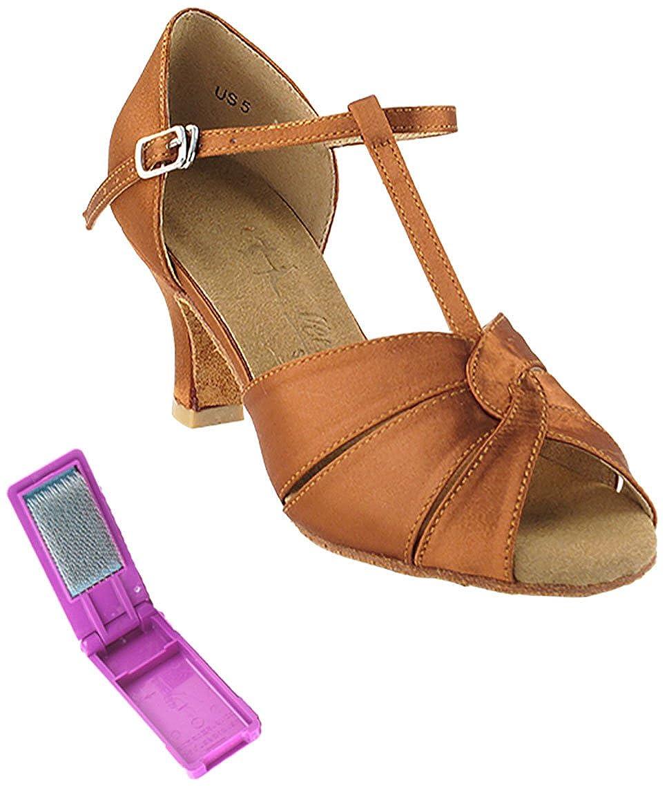 [Very Fine Dance Shoes] レディース B072QRDYVZ  ダークタンサテン 7 B(M) US