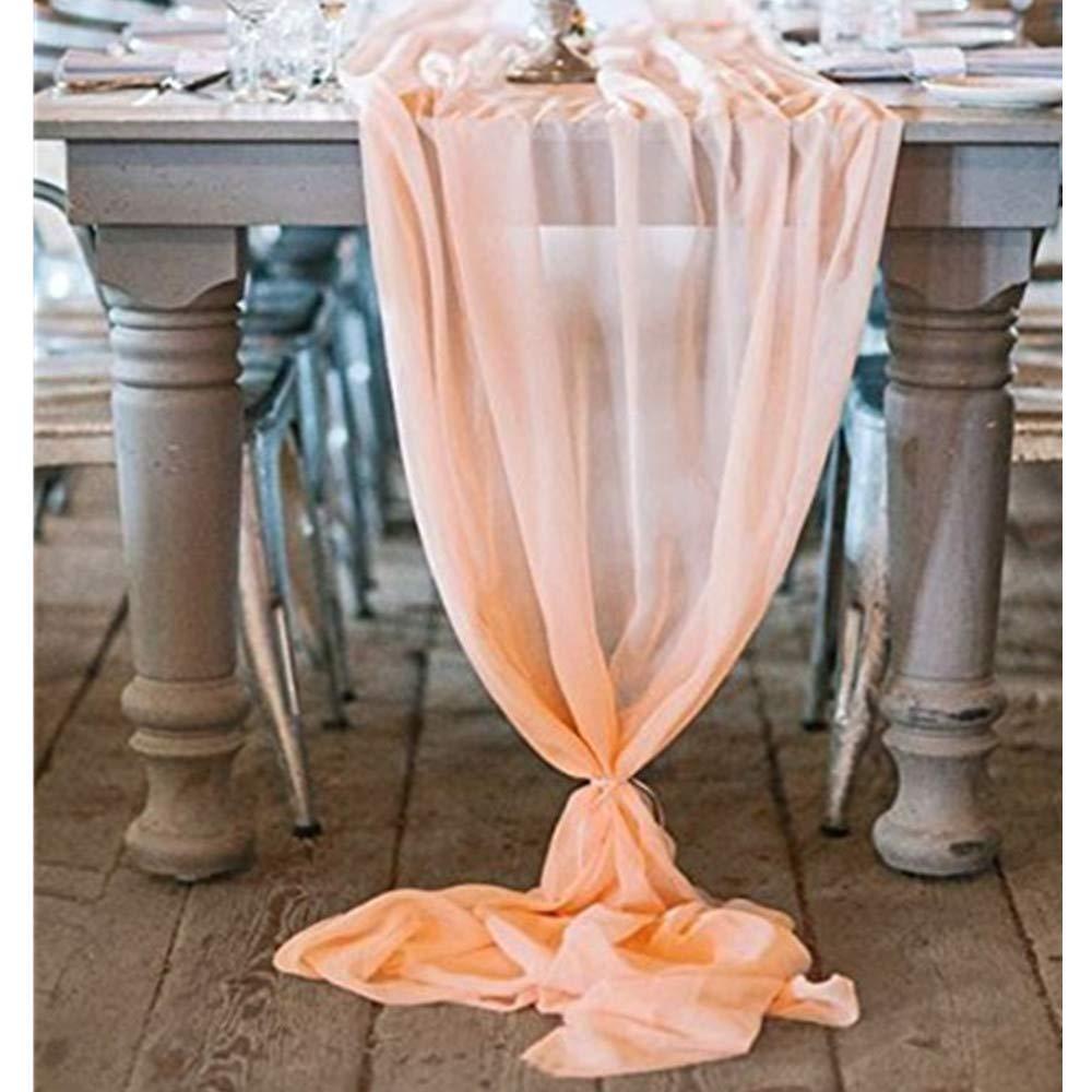 QueenDream 27''x120'' Light Peach Classy Soft sheer Chiffon Sheer Table Runner for Bridal Shower Bachelorette Party Baby Girl Shower Girl's Sweet Birthday