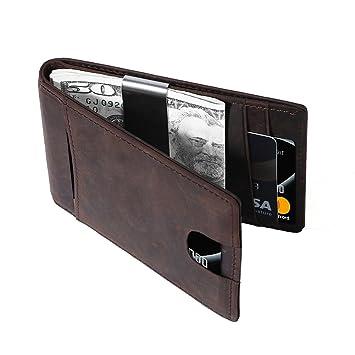 Cartera Hombre Con Monedero,Billetera Hombre Pequeña,Tarjetas de Crédito Slim Moda RFID Bloqueo