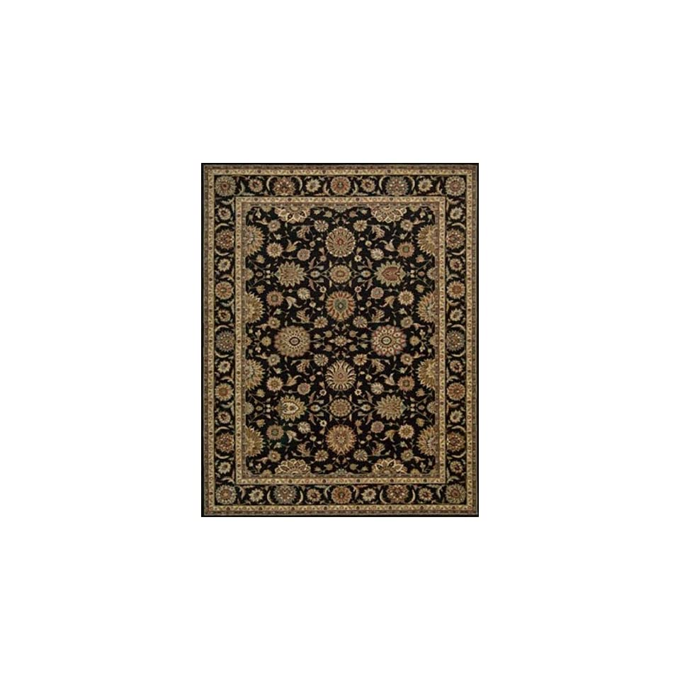Living Treasures Collection Traditional Black Wool Rug 5.60 x 8.30.
