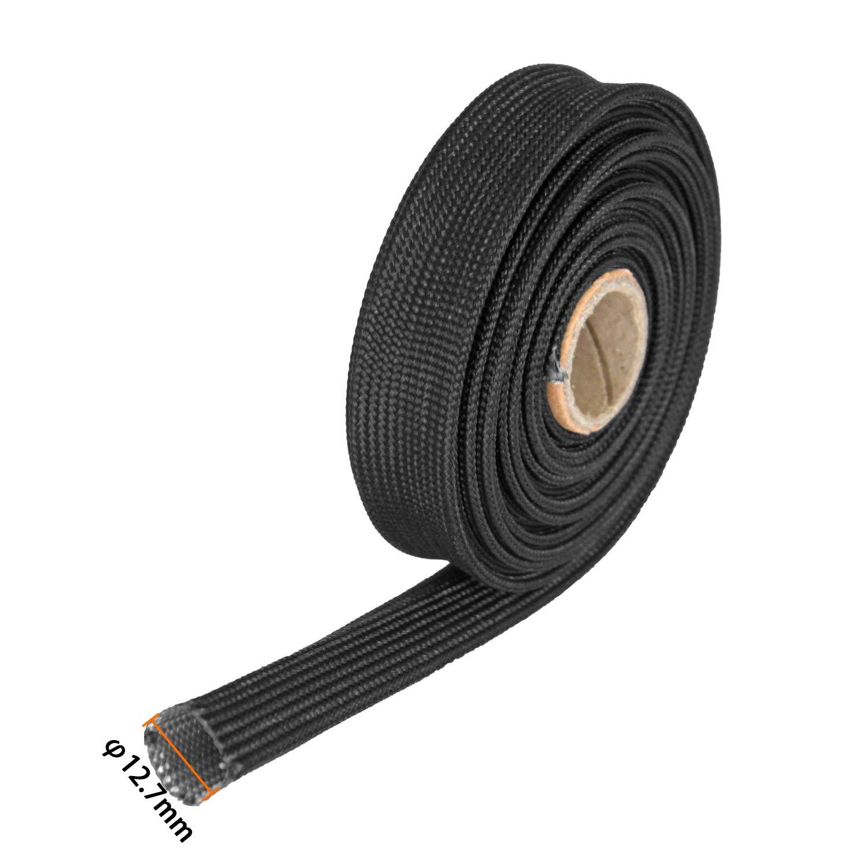 Heat Hose Shield Fiberglass Sleeve 3//4 ID X 5 Black Adjustable Hose Heat Shield Spark Plug Wire Heat Shield Roll For Car Wire Loom Heat Shield Brake Line Cable Heat Shield
